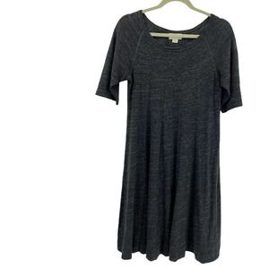 Anthropologie Ganni Charcoal Gray The Threaded Trails Swing A-line Dress Sz M